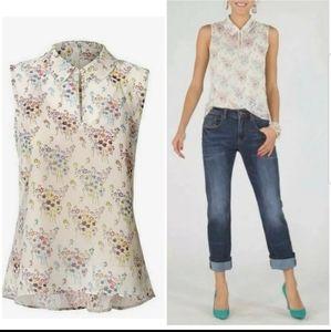 CABI floral sleeveless semi sheer w/camisole